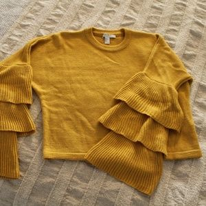 Yellow Crop Layered Bell Sleeve Sweater